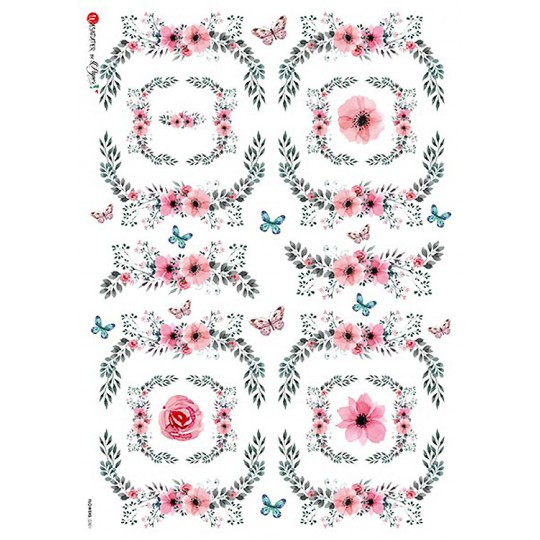 Pink Flower Borders with Butterflies Rice Paper Decoupage Sheet ~ Italy