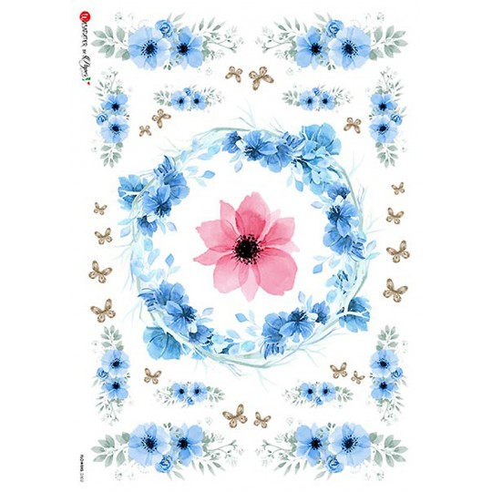 Blue Wild Flower Sprays Rice Paper Decoupage Sheet ~ Italy