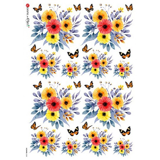 Calendula and Butterfly Rice Paper Decoupage Sheet ~ Italy