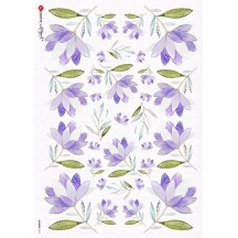 Purple Flowers Rice Paper Decoupage Sheet ~ Italy