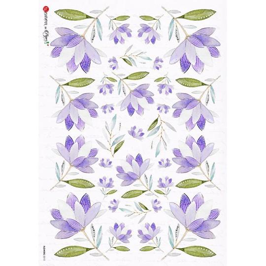 Purple Flowers Rice Paper Decoupage Sheet ~ Italy