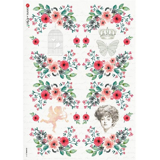 Romantic Florals Rice Paper Decoupage Sheet ~ Italy