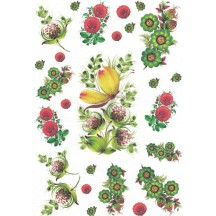 Folkloric Flowers and Pods Rice Paper Decoupage Sheet ~ Italy