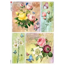 Rose Ephemera Collages Rice Paper Decoupage Sheet ~ Italy