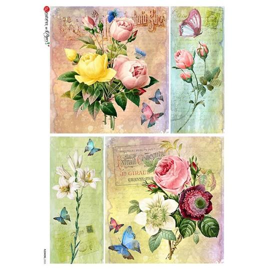 Rose Ephemera Collages Rice Paper Decoupage Sheet ~ Italy