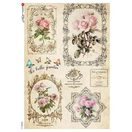 Rose and Cosmetics Ephemera Rice Paper Decoupage Sheet ~ Italy