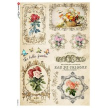 Rose and Cosmetic Ephemera Rice Paper Decoupage Sheet ~ Italy
