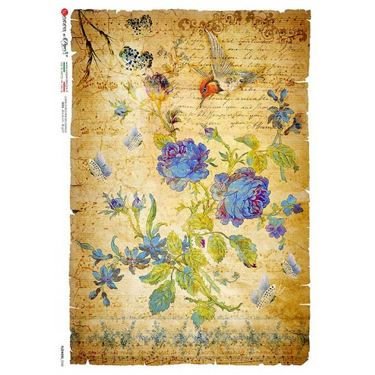 Blue Rose Collage Rice Paper Decoupage Sheet ~ Italy
