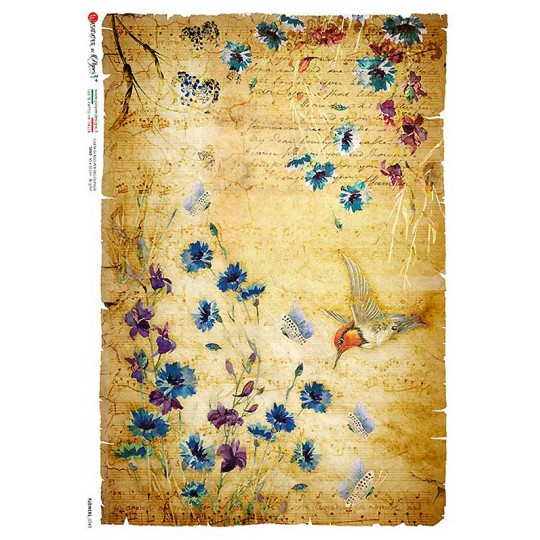 Blue Flower and Hummingbird Collage Rice Paper Decoupage Sheet ~ Italy