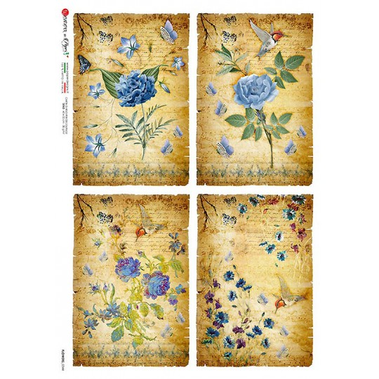 Blue Flowers Collage Rice Paper Decoupage Sheet ~ Italy