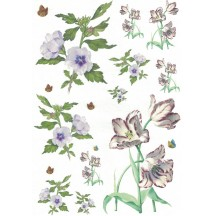 Lilies and Petite Butterflies Rice Paper Decoupage Sheet ~ Italy