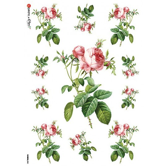 Pink Roses Rice Paper Decoupage Sheet ~ Italy