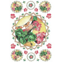 Geranium Medallions Rice Paper Decoupage Sheet ~ Italy