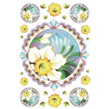 Daffodil Medallions Rice Paper Decoupage Sheet ~ Italy