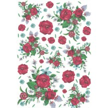Red Rose Bouquet Rice Paper Decoupage Sheet ~ Italy