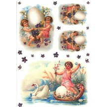 Easter Angels with Eggs Rice Paper Decoupage Sheet ~ Italy