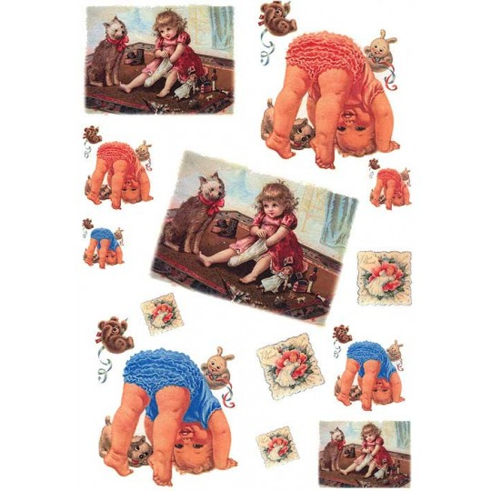 Children and Babies Rice Paper Decoupage Sheet ~ Italy