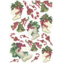 Christmas Stockings and Candy Canes Rice Paper Decoupage Sheet ~ Italy