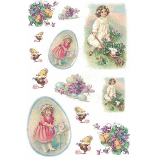 Vintage Easter Girls Rice Paper Decoupage Sheet ~ Italy