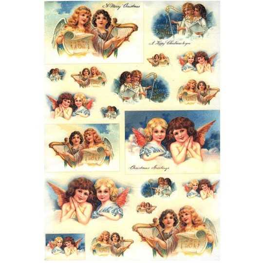 Musical Christmas Angels Rice Paper Decoupage Sheet ~ Italy