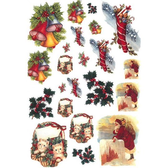 Mixed Christmas Images Rice Paper Decoupage Sheet ~ Italy