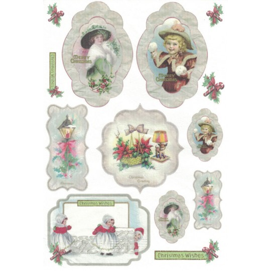 Vintage Christmas Medallions Rice Paper Decoupage Sheet ~ Italy