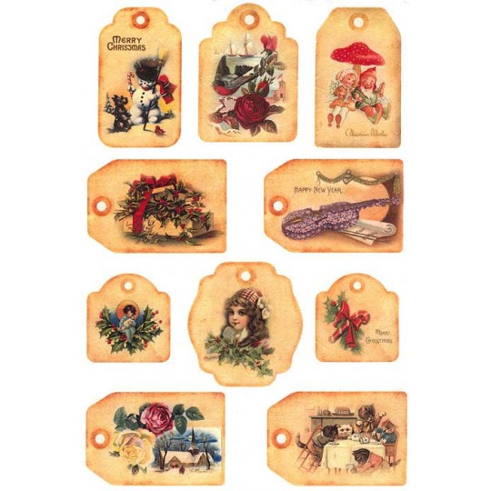 Mixed Christmas Tags Rice Paper Decoupage Sheet ~ Italy