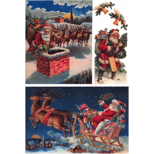 Santa on Christmas Eve Rice Paper Decoupage Sheet ~ Italy