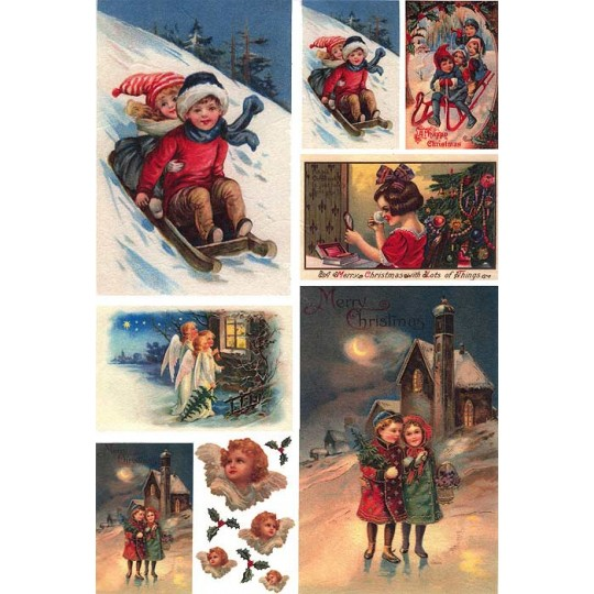 Vintage Christmas Cildren Rice Paper Decoupage Sheet ~ Italy
