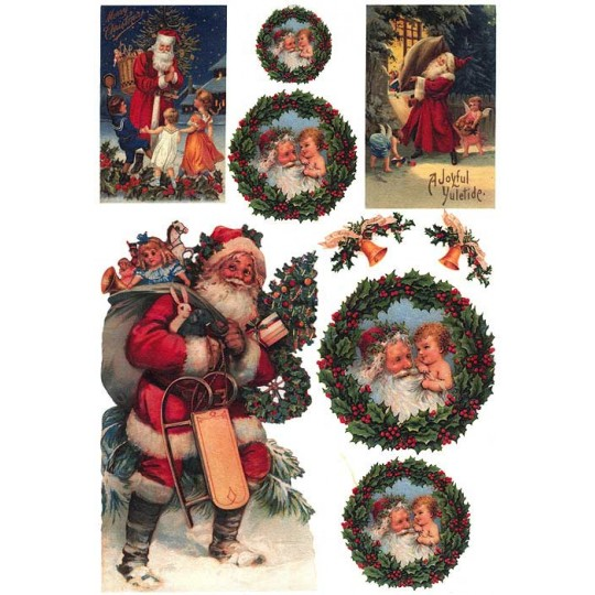 Christmas Wreaths and Santa Rice Paper Decoupage Sheet ~ Italy