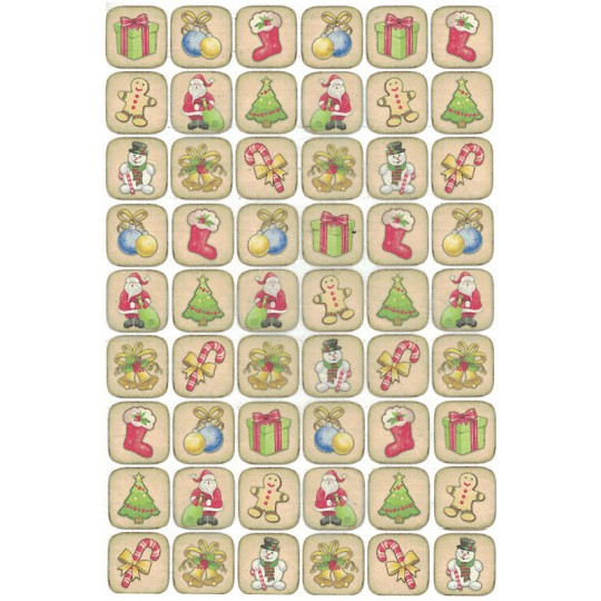Classic Christmas Stamps Rice Paper Decoupage Sheet ~ Italy