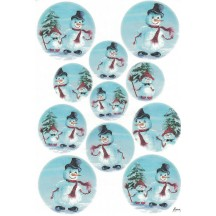 Snowmen Rice Paper Decoupage Sheet ~ Italy