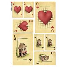 Alice in Wonderland Queen Playing Cards Rice Paper Decoupage Sheet ~ Italy
