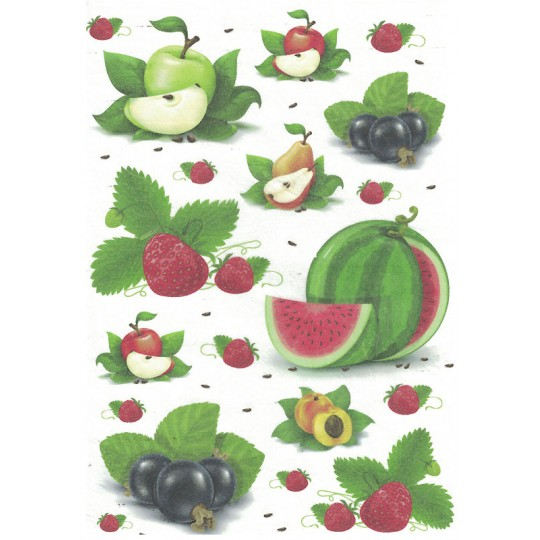 Watermelon and Fruit Mix Rice Paper Decoupage Sheet ~ Italy