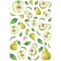 Green Pears and Apples Rice Paper Decoupage Sheet ~ Italy