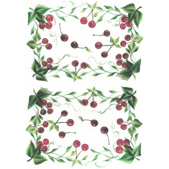 Cherry Rice Paper Decoupage Sheet ~ Italy