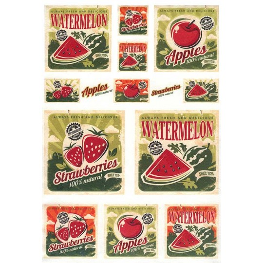 Fruit Labels Print Rice Paper Decoupage Sheet ~ Italy