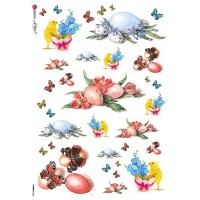 Eggs and Chicks with Flowers Rice Paper Decoupage Sheet ~ Italy