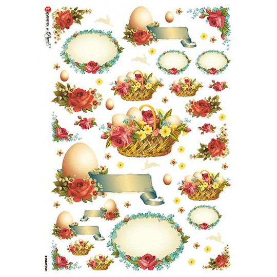 Ephemera Easter Eggs and Baskets with Flowers Rice Paper Decoupage Sheet ~ Italy