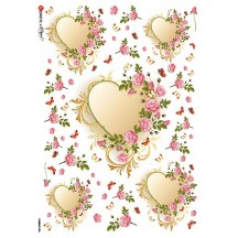 Mixed Valentine Hearts and Ruffled Roses Rice Paper Decoupage Sheet ~ Italy