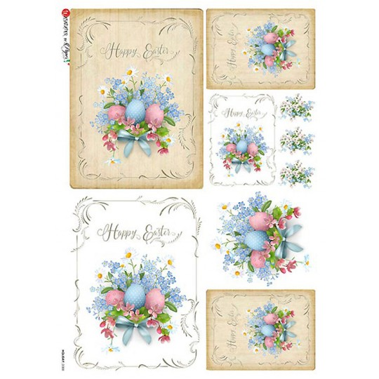 Happy Easter Bouquets with Eggs and Flowers Rice Paper Decoupage Sheet ~ Italy