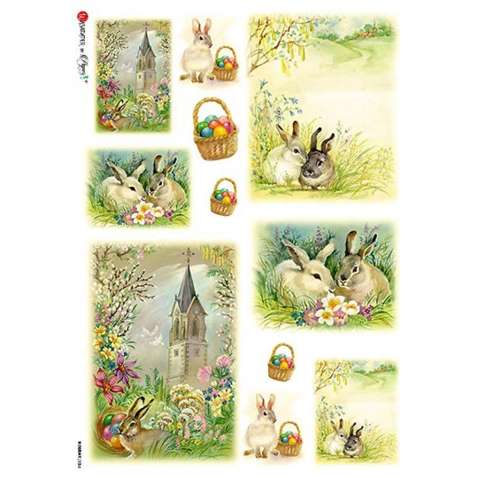 Old Fashioned Easter Bunny Rice Paper Decoupage Sheet ~ Italy