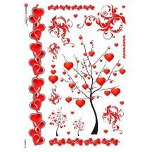 Mixed Valentine Hearts Rice Paper Decoupage Sheet ~ Italy