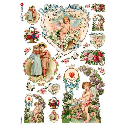 Vintage Valentines Rice Paper Decoupage Sheet ~ Italy