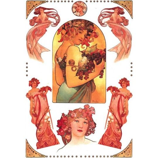 Art Nouveau Mucha Beauties Rice Paper Decoupage Sheet ~ Italy