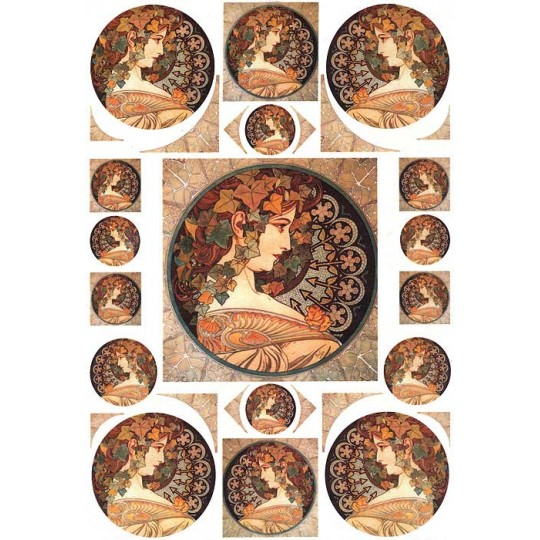 Art Nouveau Mucha Autumn Beauties Rice Paper Decoupage Sheet ~ Italy