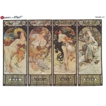 Art Nouveau Mucha Women of the Seasons Rice Paper Decoupage Sheet ~ Italy