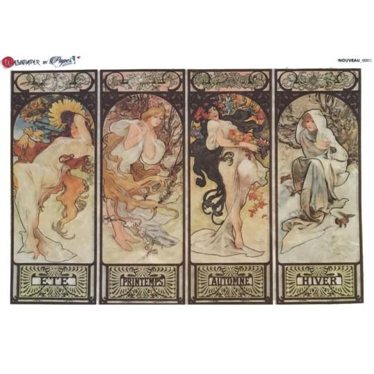 Art Nouveau Mucha Women of the Seasons Rice Paper Decoupage Sheet ~ Italy