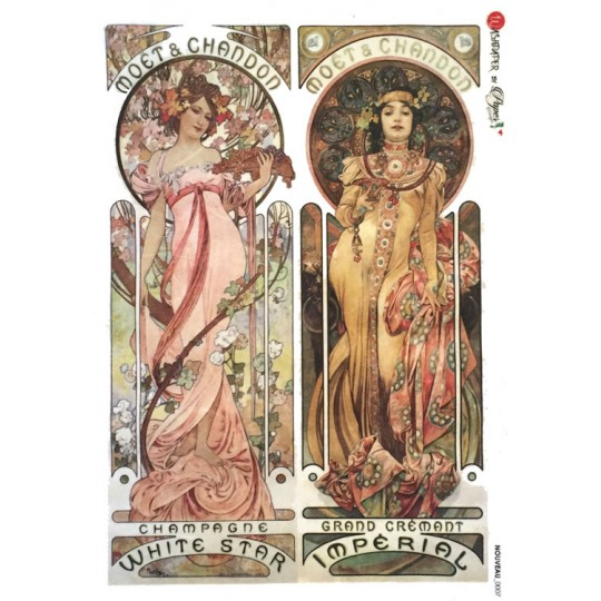 Art Nouveau Mucha Moet & Chandon Rice Paper Decoupage Sheet ~ Italy