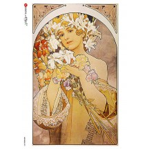 Art Nouveau Mucha Spring Flowers Woman Rice Paper Decoupage Sheet ~ Italy